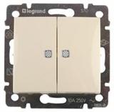 Выключатель 2-х клавишный с подсветкой 10А Legrand Valena (Сл.кость) 774328