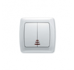 Выключатель 2-х клавишный с подсветкой (бел.) Viko Carmen - фото 5024