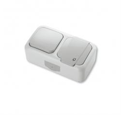 Выключатель 1-клавишный+Розетка с заземлением Viko Palmiye - фото 5113