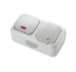 Выключатель 1-клавишный с подсветкой+Розетка с заземлением Viko Palmiye - фото 5114