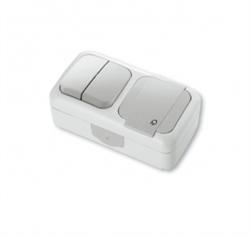 Выключатель 2-х клавишный+Розетка с заземлением Viko Palmiye - фото 5115