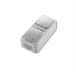 Вертикальный Выключатель 1-клавишный+Розетка с заземлением Viko Palmiye - фото 5117