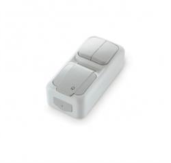 Вертикальный Выключатель 2-х клавишный+Розетка с заземлением Viko Palmiye - фото 5119
