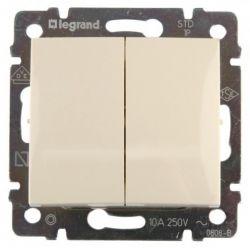 Переключатель 2-х клавишный 10A Legrand Valena (Сл.кость) 774308 - фото 5135