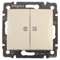 Выключатель 2-х клавишный с подсветкой 10А Legrand Valena (Сл.кость) 774328 - фото 5142