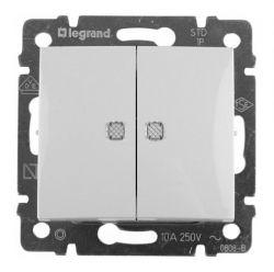 Выключатель 2-х клавишный с подсветкой 10А Legrand Valena (Белый) 774428 - фото 5143