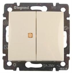 Выключатель 2-х клавишный с инд. 10A  Legrand Valena 774345(Сл.кость) - фото 5164