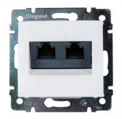 Розетка двойная компьютерная с захват. RJ45х2 Legrand Valena (Белая) 774231 - фото 5219