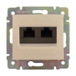 Розетка двойная компьютерная с захват. RJ45 кат.6е Legrand Valena (Сл.кость) 774147 - фото 5227