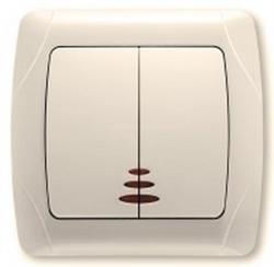 Выключатель 2-х клавишный с подсветкой (крем.) Viko Carmen - фото 8236